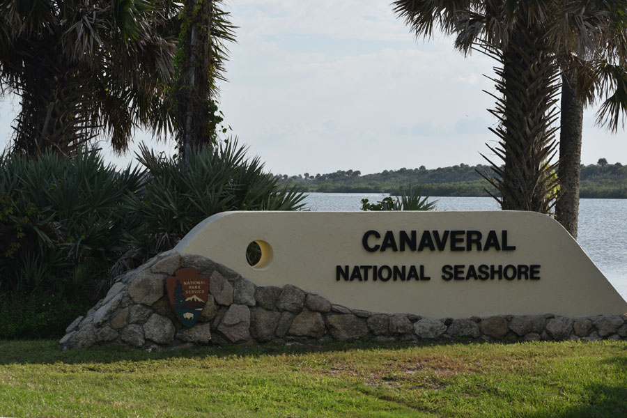 A sign designates the entrance to Canaveral National Seashore between New Smyrna Beach and Titusville, Florida. Photo credit ShutterStock.com, licensed.