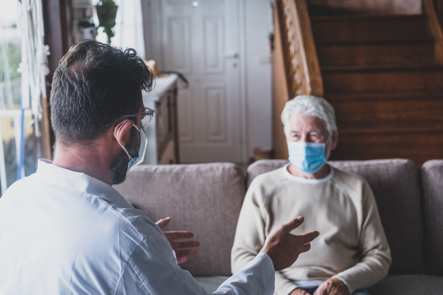 Under the new hospital-level care model, patients with certain medical conditions, such as pneumonia or heart failure — even moderate covid — are offered high-acuity care in their homes, with 24/7 remote monitoring and daily visits by medical providers. Photo credit ShutterStock.com, licensed.