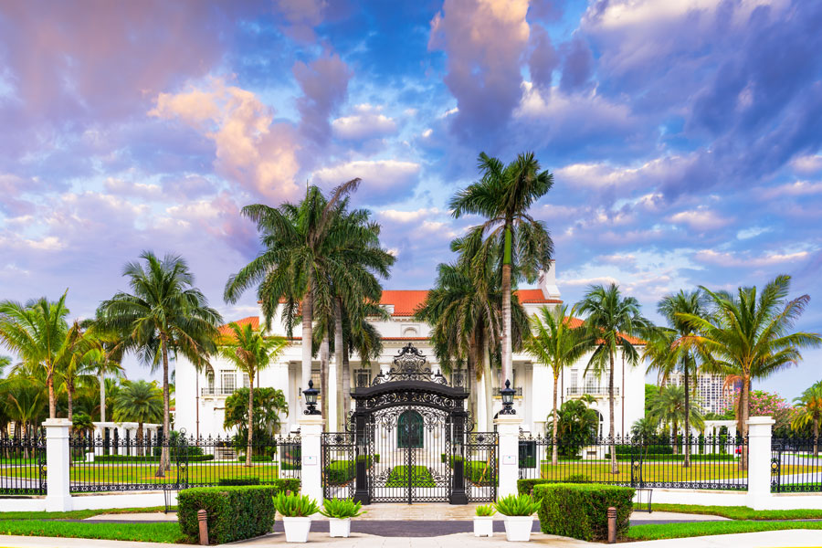 The Flagler Museum exterior and grounds. The 75-room, 100,000 square foot mansion was constructed by Henry Flagler and completed in 1902. It is open to the public in Palm Beach, Florida.  File photo: Sean Pavone, Shutterstock.com, licensed.