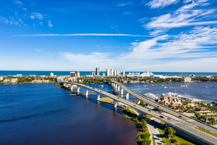 Aerial view of Daytona Beach and split bridges crossing the Halifax River. Photo credit ShutterStock.com, licensed.