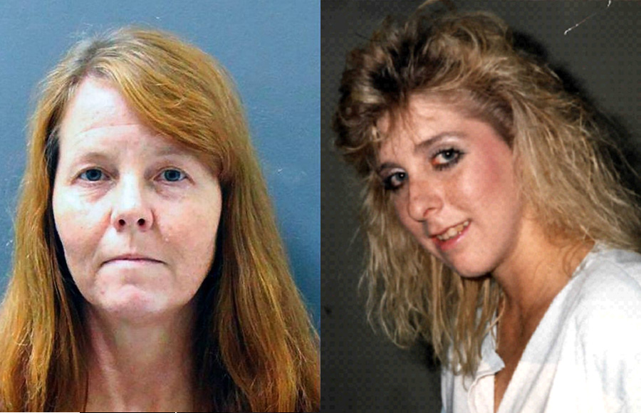 This Yavapai County Sheriff's Office photo shows Shelly Harmon, 50, after she was arrested in the 1988 death of Pamela Pitts (right). Pitts of Prescott, Arizona was murdered 30 years ago. Her body was found in 1988, in a pile of trash, burned beyond recognition.