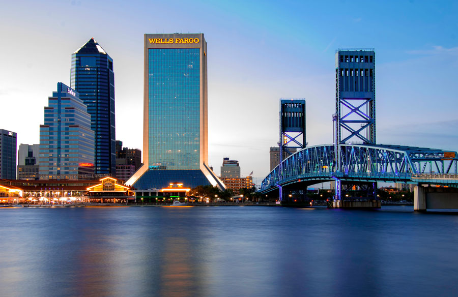 Downtown Jacksonville, Florida located near the intersection of Independent Drive and Laura Street, along the Jacksonville Riverwalk.