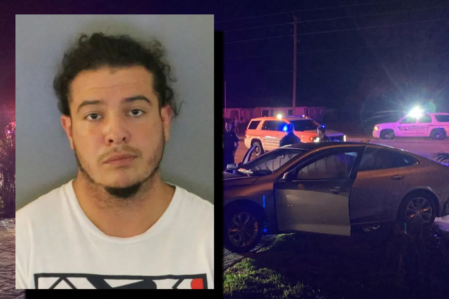 Julian A. Fernandez, 24, was charged with fleeing or attempting to elude a law enforcement officer, aggravated assault on an officer, possession of marijuana over 20 grams, reckless driving, driving without license revoked by a habitual offender, DUI with damage to property, and possession of drug paraphernalia.