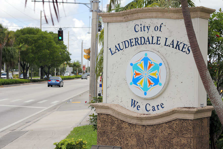 City of Lauderdale Lakes Sign, We Care, entrance sign along the street during the day. Lauderdale Lakes, FL, on July 11, 2014. File photo: Serenethos, Shutterstock.com, licensed.