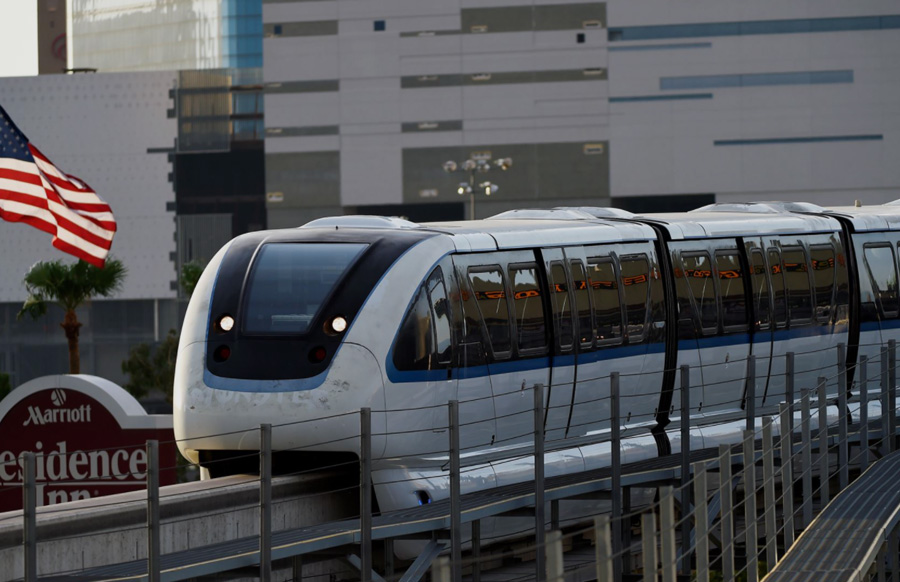 The 3.9-mile elevated system along the Las Vegas Strip enables passengers to travel the length of the resort corridor in less than 15 minutes, at speeds of up to 50 miles per hour. Trains will continue to arrive every 4-8 minutes at each of the seven stations