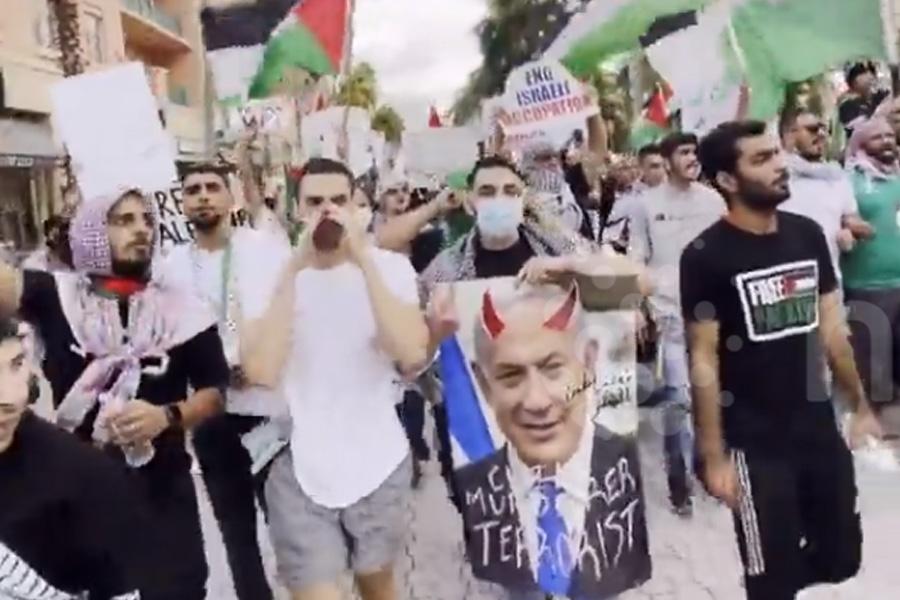 Over 100 pro-Palestinians marched in Mizner Park of Boca Raton FL