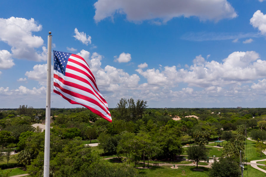 Aerial view of an American Flag in Parkland, Florida on a sunny day. Photo credit ShutterStock.com, licensed.