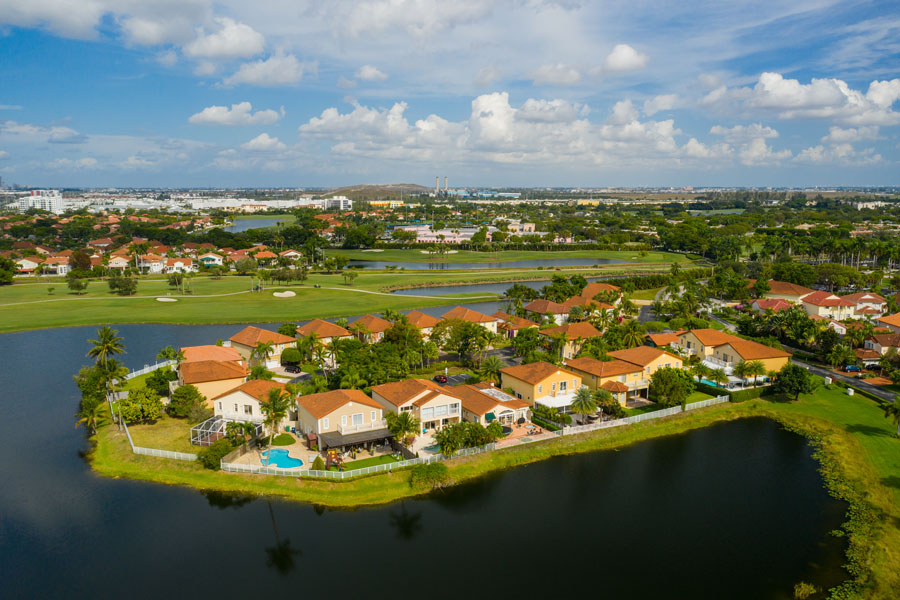 Aerial drone footage of residential homes in the City of Pembroke Pines, Florida.