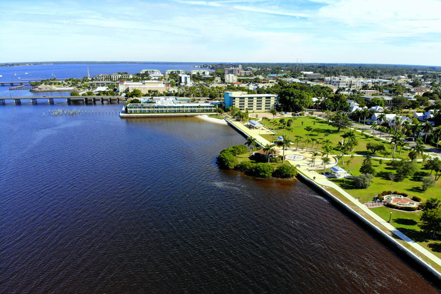 An aerial view of the Gilchrist Park and Gilchrist Bridge in Punta Gorda, Florida, on December 4, 2018.