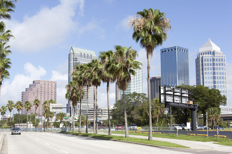 A view of empty Channelside Drive with skyscrapers in a background; Tampa Florida. Photo credit ShutterStock.com, licensed.