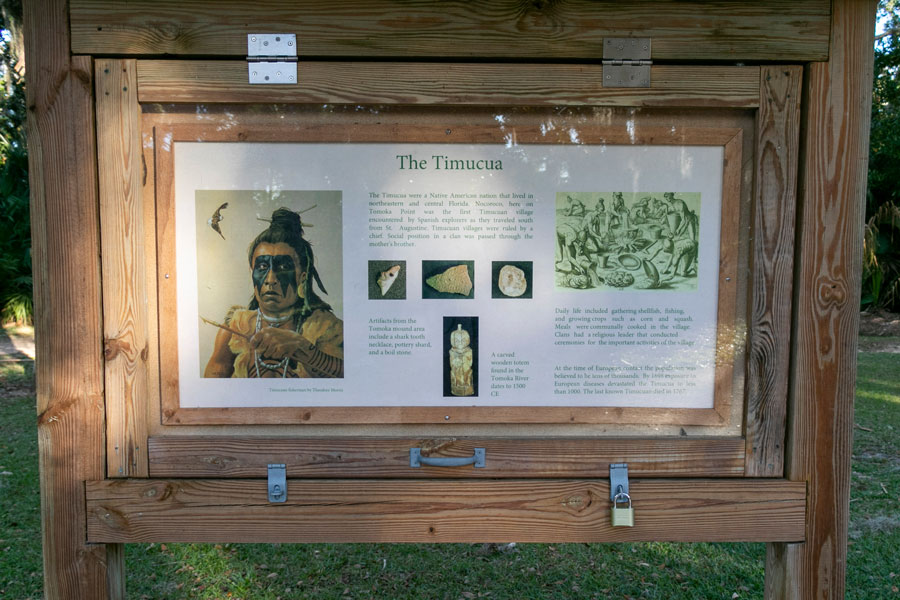 A historical information board for visitors at Tomoka State Park in Ormond Beach, FL on January 9, 2020. Photo credit ShutterStock.com, licensed.