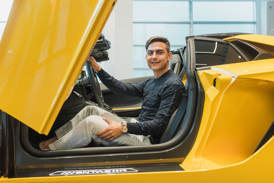 Professional footballer Paulo Dybala who plays as a forward for Serie A club Juventus and the Argentina national team in his new Aventador.