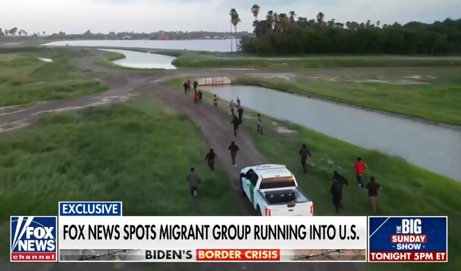 Fox News drone crew captures large group of migrants rushing southern border. Photo credit: Fox News.