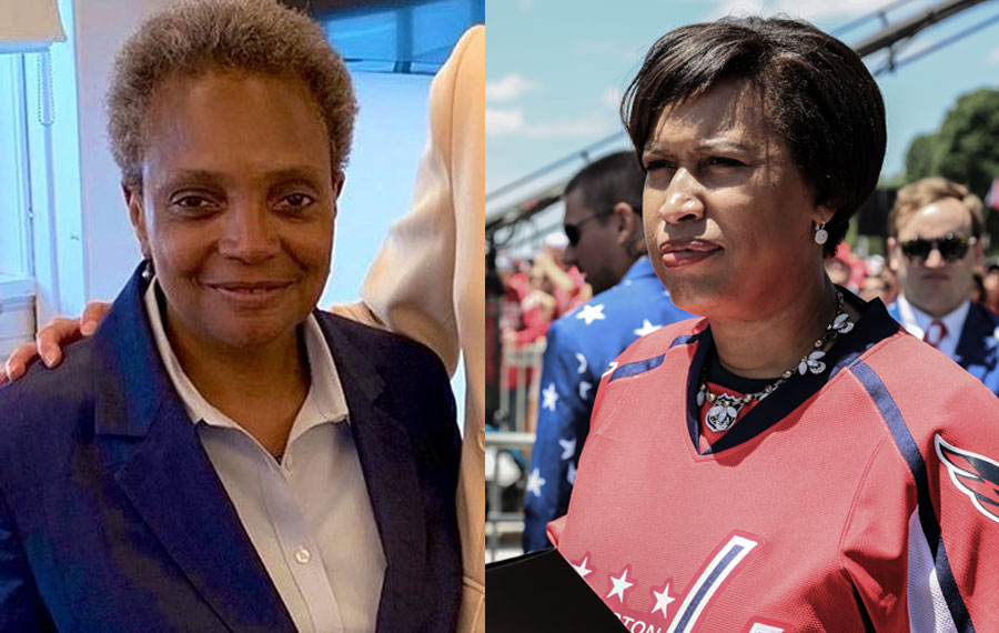 """Muriel Bowser (right), who controls D.C., this past Thursday stated that Mayor of Chicago, Lori Lightfoot (left) was """"making a point"""" with her controversial announcement to only grant interviews to black journalists."""