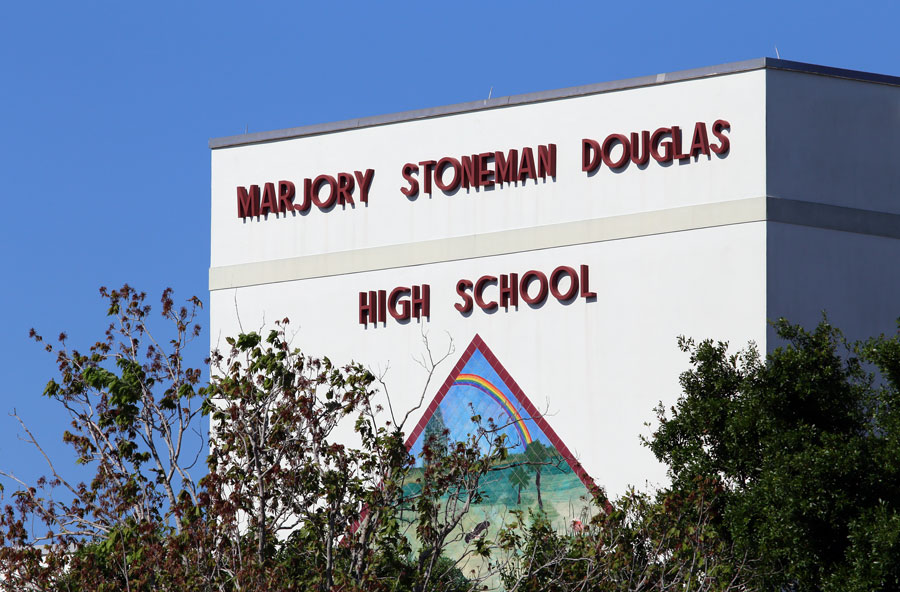 The Marjory Stoneman Douglas High School in Parkland, Florida on April 25, 2018. The school was the site of a school shooting in 2018 which sparked nationwide protests.