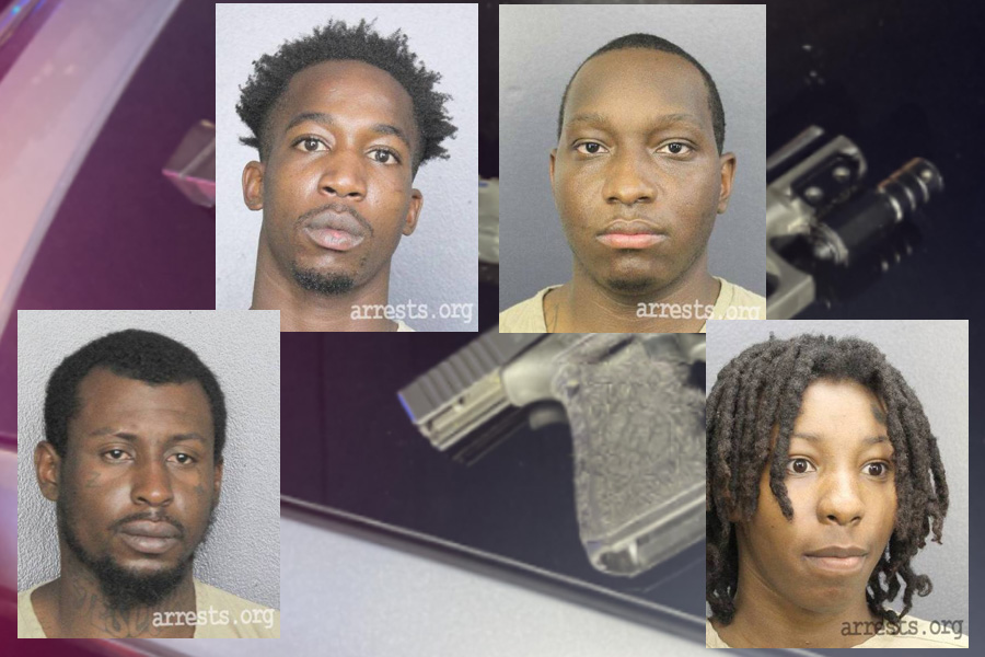 Top left to right:  Teandray Lemon, 19,of Fort Lauderdale, and Quevaris Turnquist, 31, of Miami. Bottom left to right: Jeffrey Orys, 26, of Fort Lauderdale, and Latorykka Mallory, 18, of North Lauderdale.