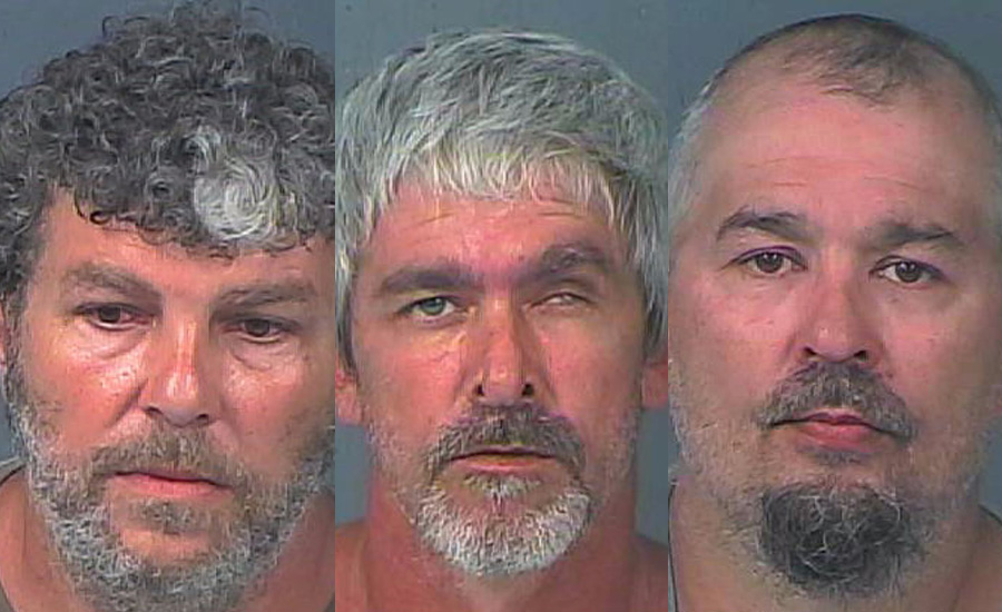 From left, Jim Leasure, 52, Richard Morgan Sr., 44, and Darren Morgan, 40, were each arrested on a charge of Grand Theft. They were transported to the Hernando County Detention Center where their bond was set at $5,000 each. The boat was returned to the victim.