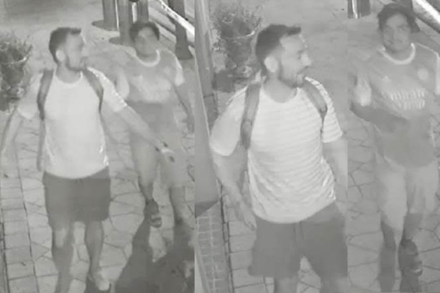 The suspect is seen wearing a short-sleeved tee-shirt w/stripes, swim shorts, sneakers, and a small backpack. He has dark hair, cut short on the side and in front, but long in the back and a closely trimmed goatee. The suspect's associate is shorter, dark hair, and wearing an Emiratis United soccer jersey with the number '87' and 'MENDEZ' on the back.