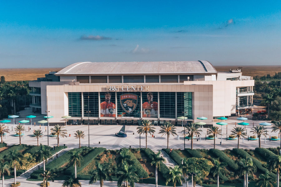 An aerial view on BB&T Center indoor arena, home of the Florida Panthers NHL hockey team.