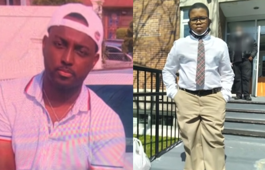 Bullets hit 29-year-old Kyle Foster (left) who is expected to recover and killed his young cousin 10-year-old Justin Wallace (right).