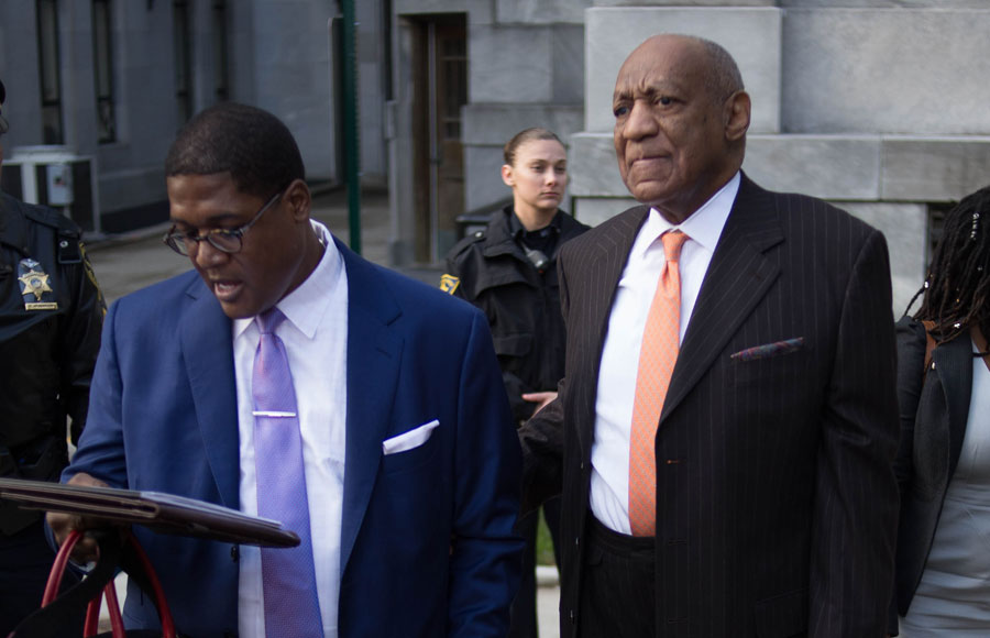 Actor Bill Cosby and spokesman Andrew Wyatt as the arrived for day two of Cosby's sexual assault re-trial at the Montgomery County Courthouse in Norristown, PA, April 10, 2018.