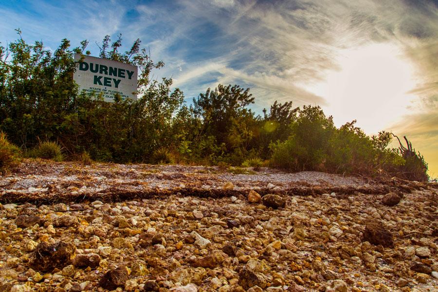 Durney Key Island sign on the Gulf Of Mexico at Durney Key Wildlife Preserve Island.