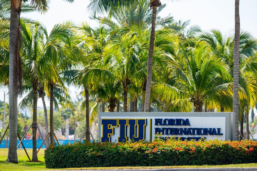 Florida International University campus entrance sign in North Miami, Florida on April 4, 2020.