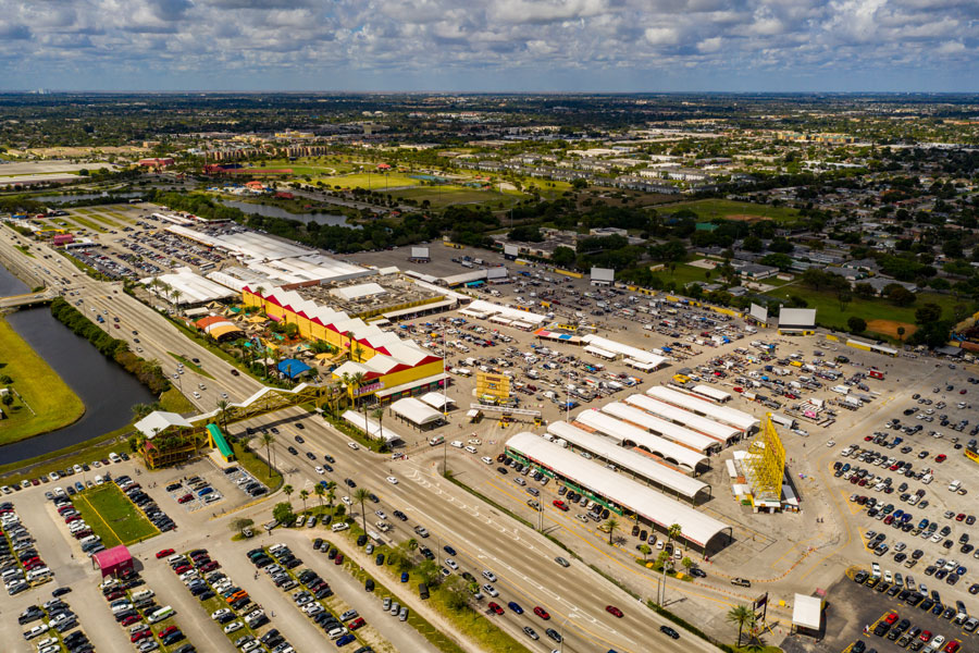 An aerial photo of thrift, flea and farmers market in Sunrise FL on March 16, 2020.