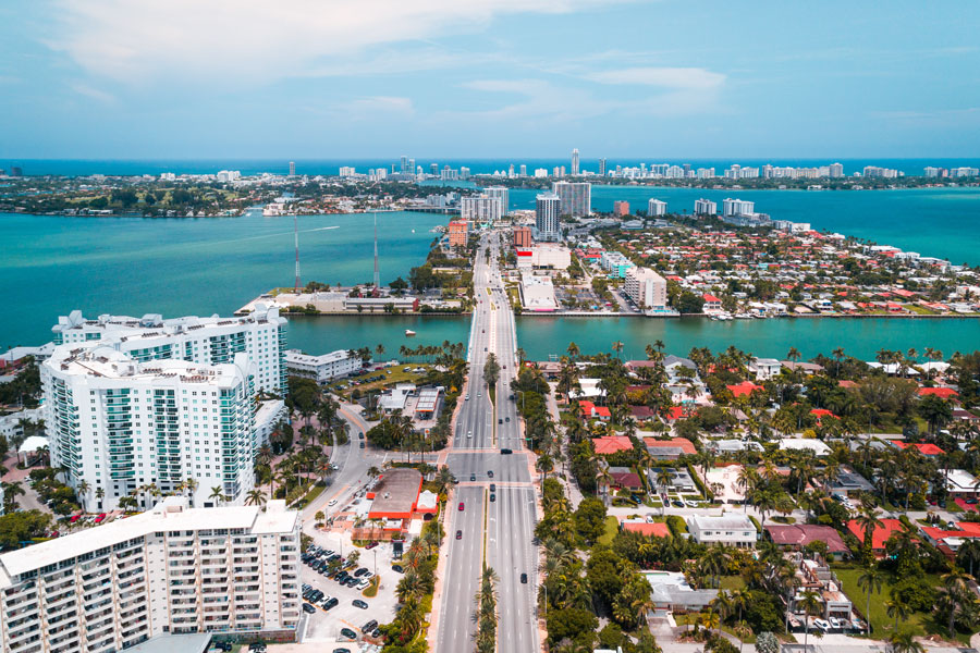 A birds eye view looking out on to North Miami Beach in Florida on July 5, 2018.