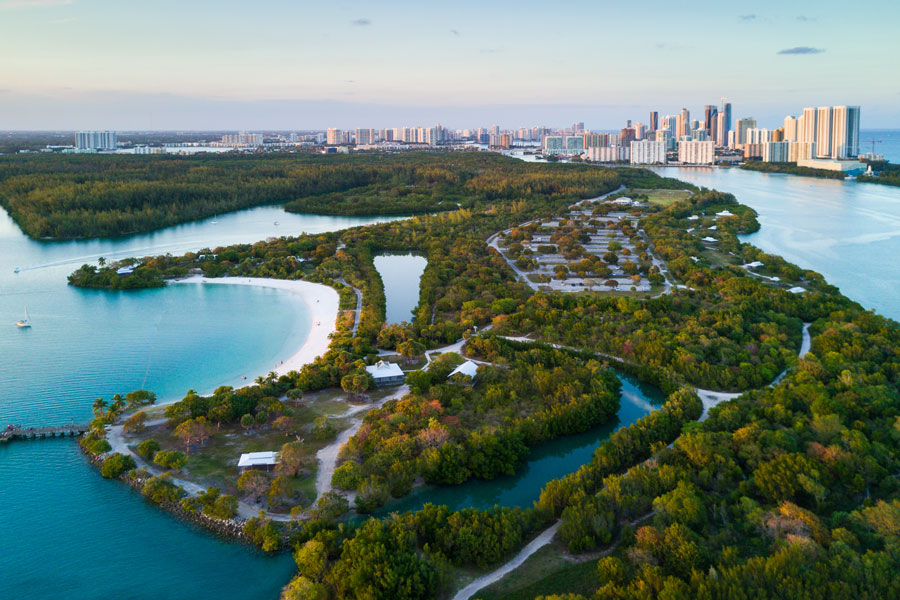 An aerial view of Oleta River State Park, Halouver and Sunny Isles in Miami, Florida.