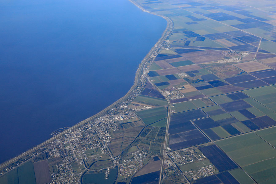 An aerial view of the Town of Pahokee, as well as Canal Point and Bryant on the shore of Lake Okeechobee.