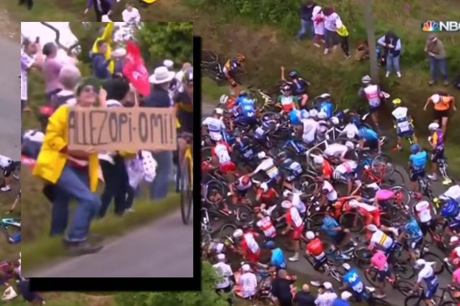 Fans sign causes MAJOR CRASH at Tour De France
