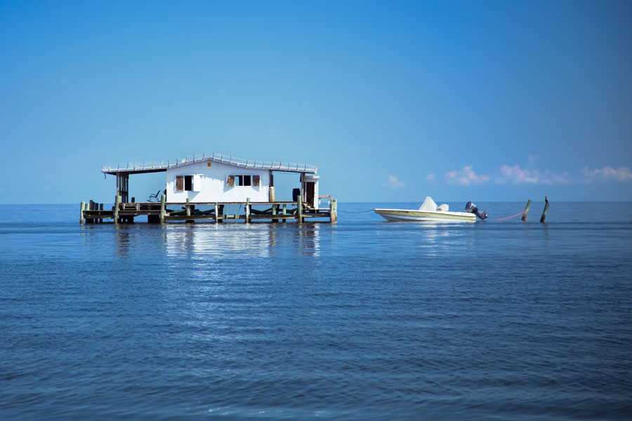 Unique Gulf of Mexico stilt house off coast of Port Richey, FL on Sept 5, 2013. Today 9 of t