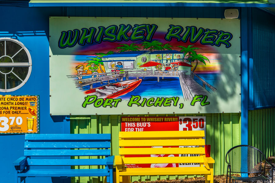The Whiskey River Sports Bar with live music, food and alcohol in Port Richey, Florida on July 2, 2019.