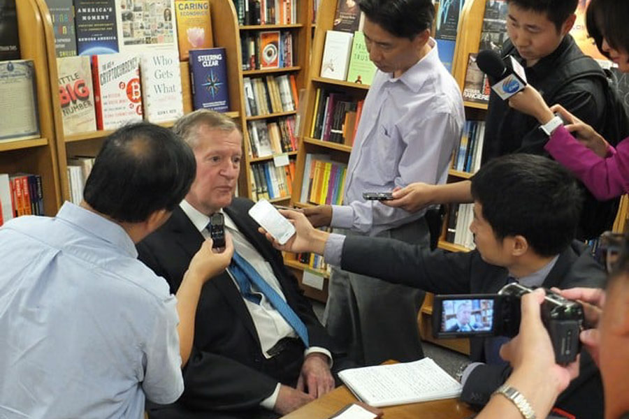 Photo of famed China historian, award-winning author and essayist, frequent broadcast media commentator and correspondent and Harvard PhD and professor, Ross Terrell, 82, at a Chinese Base, early 2000