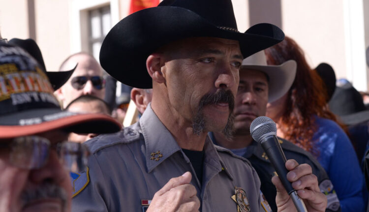 Cibola County Sheriff Tony Mace addresses hundreds of Second Amendment supporters during a pro-gun rally outside the New Mexico state Capital in Santa Fe. Santa Fe, New Mexico on January 31, 2020.