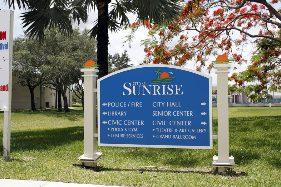 The entrance sign for various government agencies and public buildings in Sunrise, Florida. File photo credit: Serenethos, Shutterstock.com, licensed.