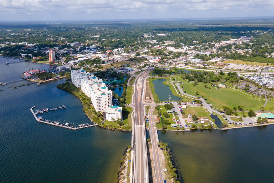 An Aerial View on Titusville City, A. Max Brewer Bridge, Space View Park, Sand Point Park looked like Saturday morning before the launch Test Flight of SpaceX Crew.