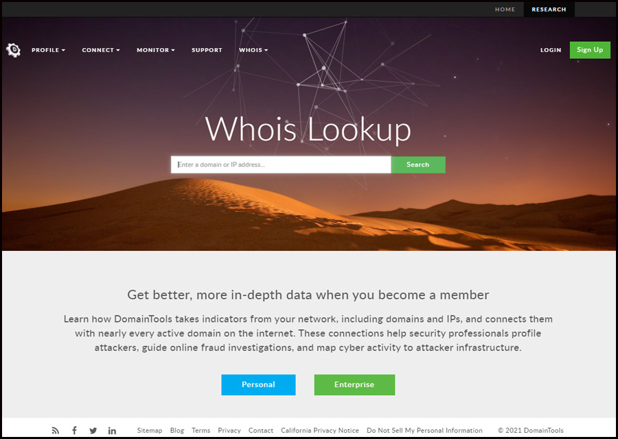 A screenshot of the website, whois.domaintools.com, which offers advanced domain name historical and ownership data.