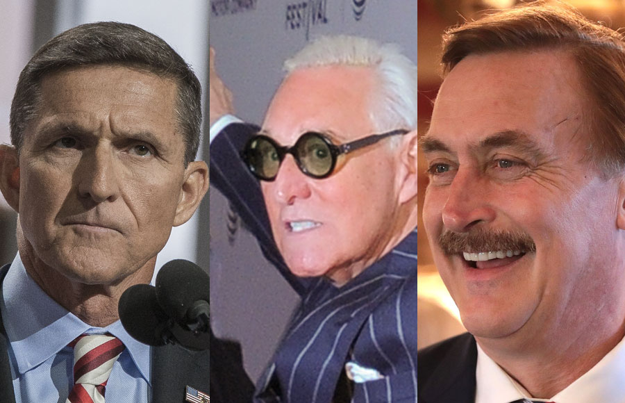 Political operative and longtime Trump political strategist Roger Stone is one of the headline speakers, along with General Michael Flynn and MyPillow CEO Mike Lindell at the Reopen America Tour: Health & Freedom Conference in Tampa, Florida.