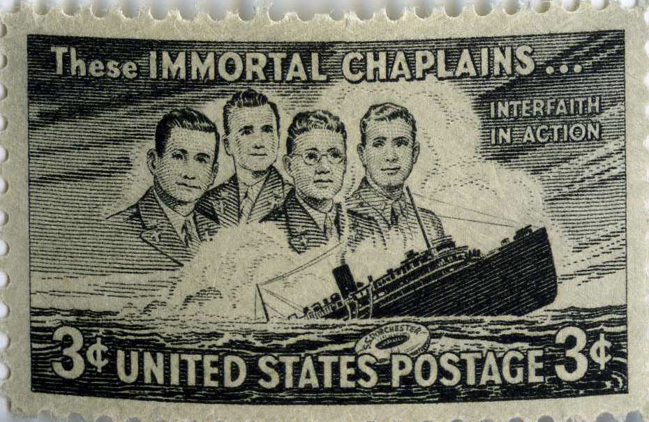"""The first of WRA's most recently sponsored memorials was held on February 3, 2021 and was called """"The Four Chaplains"""" Photo: Courtesy of the US Veterans Administration Archives"""
