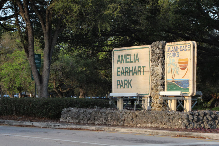 Close-up entrance sign for Amelia Earhart Park in Miami Dade County in Hialeah, Florida on February 19, 2021. File photo: Blueee77, Shutterstock.com, licensed.