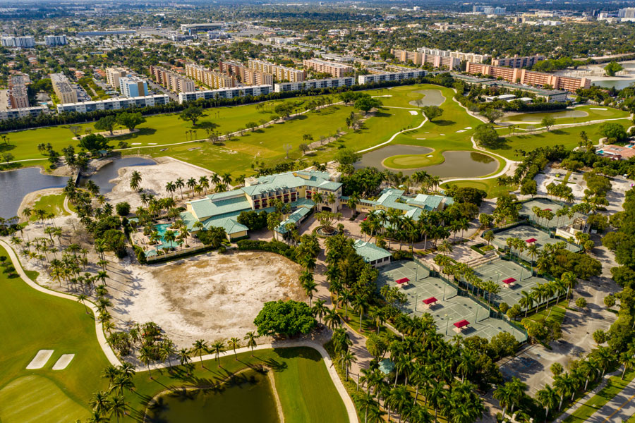 The Diplomat Golf Resort & Spa is Hallandale Beach, On an 18-hole golf course, this upscale resort with views of the Intracoastal Waterway is a mile from US-1, 3 miles from Hollywood Beach, and 4 miles from the high-end shops at Aventura Mall.