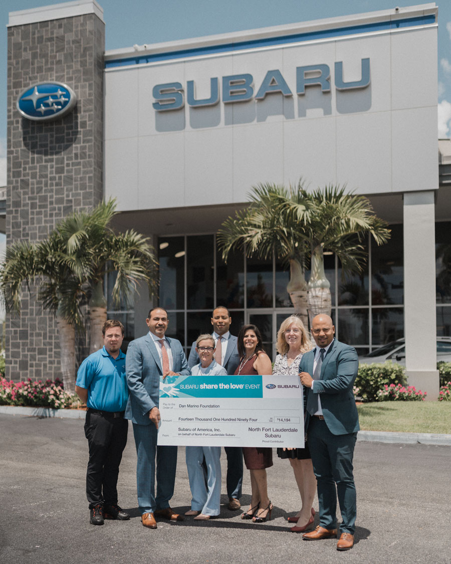 McKinley Conner, Manager of North Fort Lauderdale Subaru; Wael Ghali, Managing Partner of North Fort Lauderdale Subaru; Lisa Gutierrez, Comptroller of North Fort Lauderdale Subaru; Dovelke Bell, Manager of North Fort Lauderdale Subaru; Nicole Roman, Marketing Director, Community Relations of North Fort Lauderdale Subaru; Susan Morantes with Dan Marino Foundation and Steffen Lue with Dan Marino Foundation
