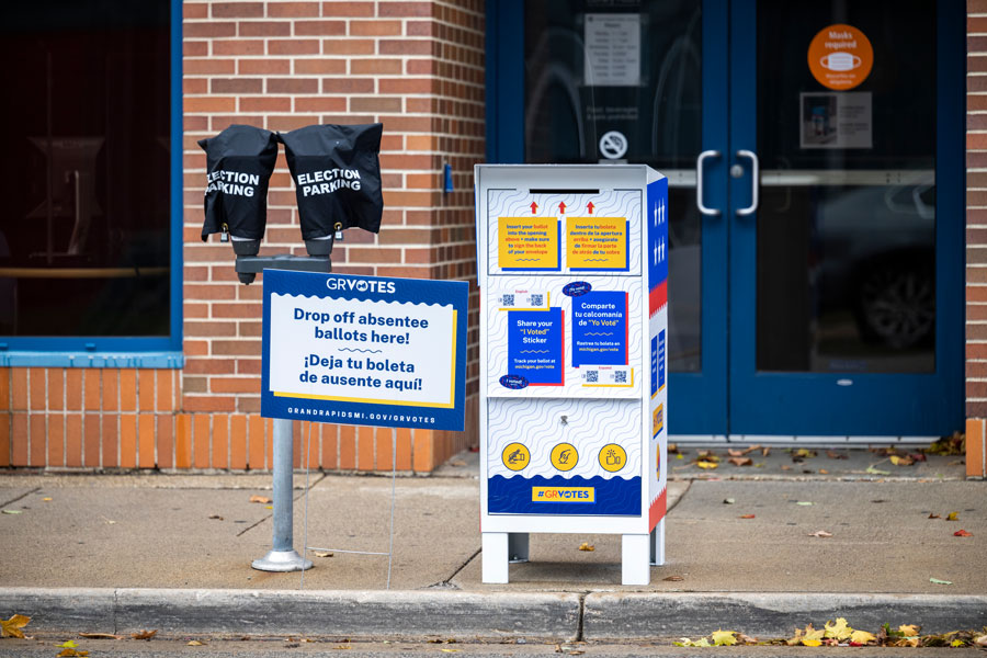One of several drive-up drop boxes for absentee ballots set up around the city ahead of the the November 3 election. Grand Rapids, Michigan, November 1, 2020. File photo: M A Haykal, Shutterstock.com, licensed.