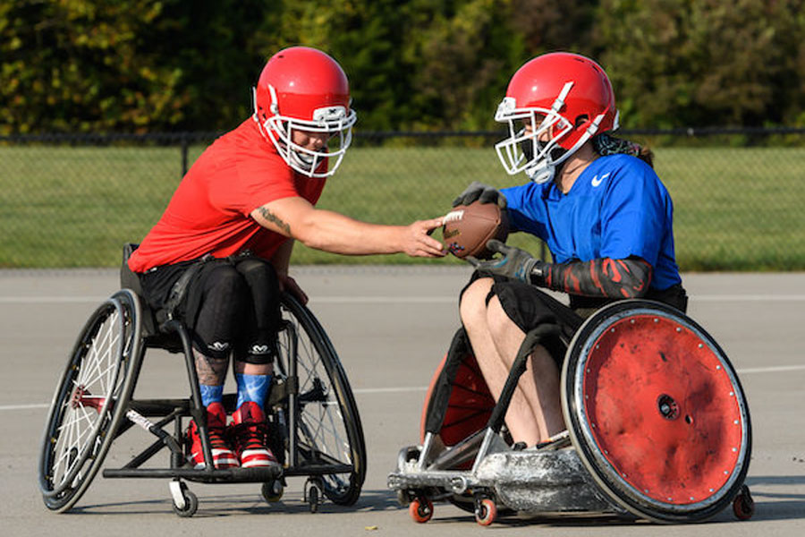 Founded just before the pandemic, the USA Wheelchair Football League is the first football league of its kind, for adults living with disabilities. Photo credit: Move United