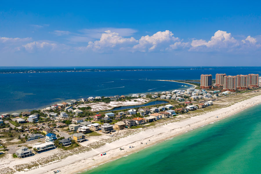 An aerial view of the Coastline of Pensacola Beaches. Photo credit ShutterStock.com, licensed.