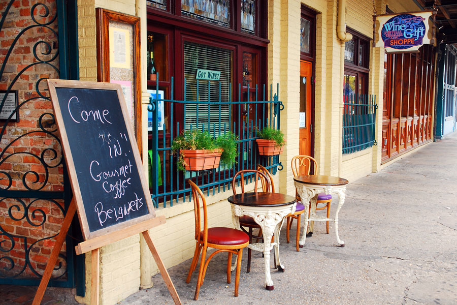 A small café awaits visitors in the historic Seville Quarter in Pensacola, Florida. File photo: James Kirkikis, Shutterstock.com, licensed.