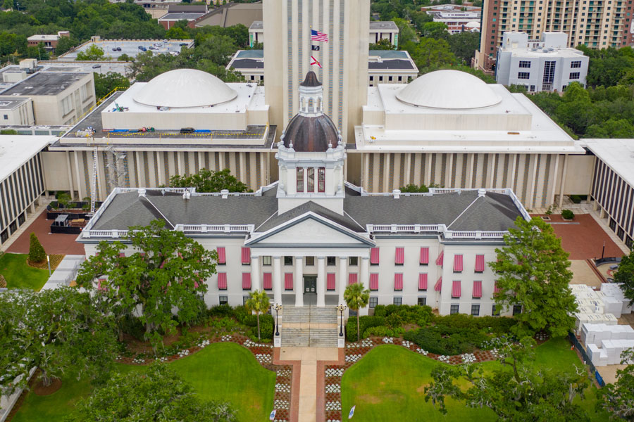 Aerial photo of the Florida State Capitol Building in Tallahassee.