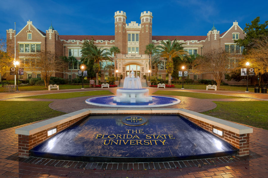 Dawn at Westcott Plaza on the campus of Florida State University on December 7, 2014 in Tallahassee, Florida. File photo credit: Nagel Photography, Shutterstock.com, licensed.